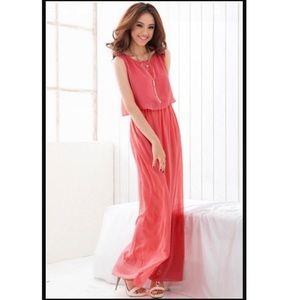 Chiffon Split Back Lined Flowy Summer Maxi Dress
